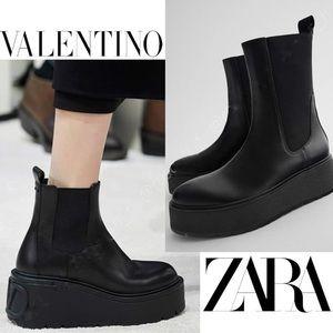 Zara Platform Leather Boots NWT